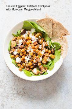 Roasted Eggplant Potatoes Chickpeas with Moroccan Merguez seasoning. Veggies tossed in cumin, pepper, cinnamon, paprika blend, roasted then served with tahini dressing. 1 Pan Sheet-pan Dinner! #Vegan #Glutenfree #soyfree #Recipe #veganricha | VeganRicha.com