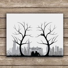 Items similar to Thumbprint Fingerprint Trees and Your City Skyline Wedding Guest Book Alternative - Choose Any City on Etsy Wedding Tree Guest Book, Guest Book Tree, Wedding Book, Thumbprint Tree Wedding, Diy Xmas Gifts, Fingerprint Tree, Skyline, Wedding Guest Book Alternatives, Easy Drawings