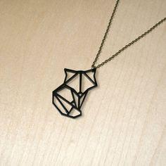 Origami Fox Pendant Necklace