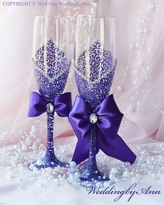 Purple Wedding Glasses Wedding Champagne Flutes by WeddingbyAnn