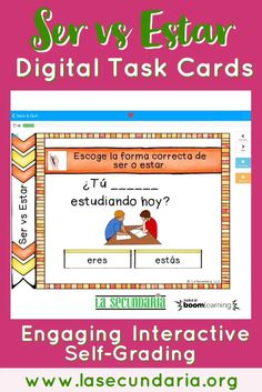Ser vs Estar BOOM Task Cards for Distance Learning Spanish Class