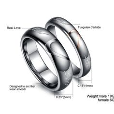 Two Half Heart Matching Real Love Tungsten Promise Rings For Couple