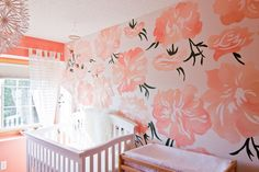 Hannah Roesler Design | Hand Painted Peonies Accent Wall | Coral-Pink & White Nursery