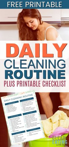 Daily Cleaning Routine Checklist and {free Printable} Monthly Cleaning Schedule, Weekly Cleaning, Cleaning Checklist, Cleaning Recipes, Cleaning Hacks, Cleaning Routines, Spring Cleaning Organization, Organizing, Routine Printable