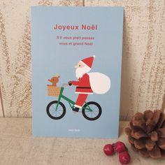 【クリスマスポストカード/No.10 自転車サンタ】自転車に乗っているサンタさんのイラストのクリスマスポストカード。サイズ:100×148mmオフ...|ハンドメイド、手作り、手仕事品の通販・販売・購入ならCreema。