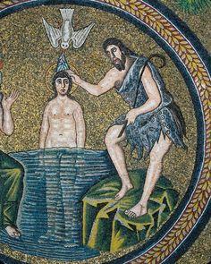 Italy, Emilia Romagna, Ravenna, Arian Baptistery, cupula, Baptism of Christ, mosaic, Early 6th century