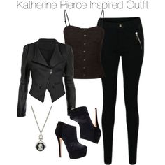 The vampire diaries - katherine pierce inspired outfit tvd; Lila Outfits, Tv Show Outfits, Fandom Outfits, Casual Outfits, Fashion Outfits, Rave Outfits, Vampire Diaries Costume, Vampire Diaries Fashion, Vampire Costumes