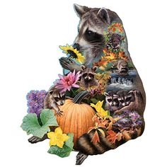 "Little Bandits 300 Large Piece Shaped Jigsaw Puzzle, $9.99, Item #46634    Six clever and curious little raccoons explore their woodland home within this incredibly detailed shaped puzzle by artist Russell Cobane. Available in two piece counts for people of all puzzling abilities. Each measures 20"" x 26""."
