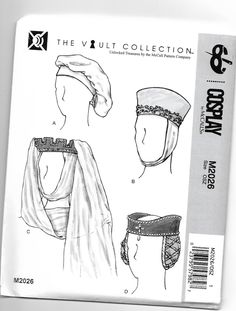 M2026 McCall's Women's Medieval and Renaissance Hats Sewing Pattern Head Sizes 21 1/2 Inches to 23 1/2 Inches Four Styles by JLGsSewingPatterns on Etsy