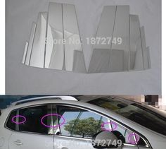 74.88$  Buy here - http://alipm3.worldwells.pw/go.php?t=32746439194 - stainless steel car window middle column pillar accessories moulding trim 10pcs For 2013-2015 Peugeot 3008  74.88$