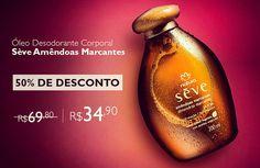 Compre Óleo Desodorante Corporal Sève Amêndoas Marcantes com 50% de desconto: R$ 69,80 por R$ 34,90.  Promoção válida de 04 a 07/03, ou enquanto durarem os estoques.