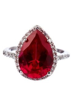 Ruby Gemstones Ruby and diamond pear shape ring.I would prefer a diamond as a center stone but i love other stones. Ruby Jewelry, Sapphire Earrings, I Love Jewelry, Bling Jewelry, Jewelry Rings, Jewelry Accessories, Sapphire Pendant, Stud Earrings, Girls Jewelry