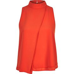 Red pleated front sleeveless top