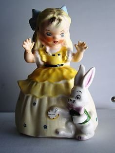 Vintage Rare 1956 Napco Alice in Wonderland Figurine w/ Bunny Rabbit AWESOME