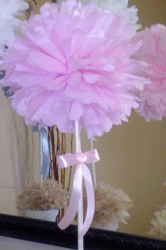 Topiario de papel de seda rosa claro