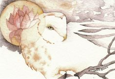 PEACEFUL WISDOM barn owl totem Aceo watercolor PRINT spirit animal lotus - Free Shipping