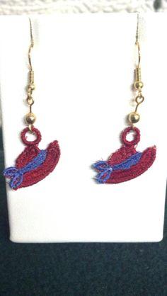 Red Hat Earrings  Lace by teresadelosh on Etsy, $7.00