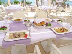 beach front restourant - dining al-fresco - Vacation rental in Novalja, island Pag, Croatia - Adriatic sea - Zrce beach- Apartment - condo rental with swimmingpool Adriatic Sea, Fresco, Croatia, Condo, Island, Vacation, Table Decorations, Dining, Beach