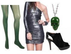 Slytherins are sure to break a few rules anywhere they go, especially when they're out with friends. I made this outfit for a girl's night on the town, with a form-fitting one shoulder metallic dress, sheer green tights, gorgeous velvet shoes, and a skull necklace that perhaps you borrowed from the Slytherin Common Room.