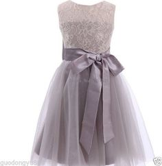 New-Lace-Tulle-Pretty-Grey-Tutu-Flower-Girl-Dresses-Baby-Girl-Infant-Toddler-Gow