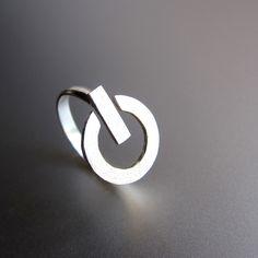 POWER Button - Handmade Silver Ring