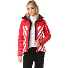 Perfect Moment Amak Jacket ($850) ❤ liked on Polyvore featuring outerwear, jackets, red white jacket, red jacket and white jacket