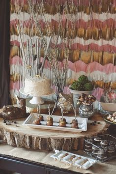 Whimsical Woodland Party - The fringed tissue paper wall makes such an impact! #kidsparty #partyidea