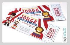 Invitación fiesta circo Pato Garabato / Circus party invitation