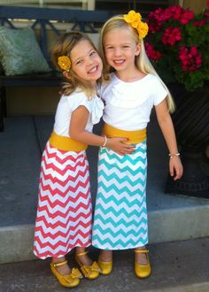 Turquoise Chevron  Girls Maxi Skirt  age 1 by LondonBridgesDesigns, $24.99