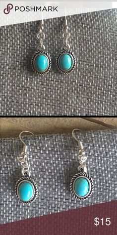 Handmade Silver and Turquoise Earrings These turquoise and silver earrings are Nickel Free. Handmade Jewelry Earrings