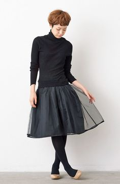 Turtleneck + ballet skirt + tights + flats.