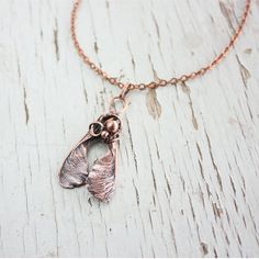 Maple seed necklace  Botanical jewelry  Copper от wirefoxjewellery