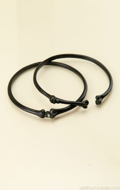 BLACK SKULL BANGLE SET at Wildfox Couture in BLACK HEMATITE