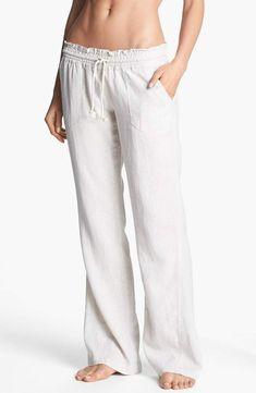 bc02b303b7 Roxy 'Oceanside' Beach Pants Linen Beach Pants, White Beach Pants, Linen  Pants
