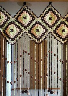 Crochet Curtains on the Doormercerized cotton brown by Uytniidomik Crochet Diy, Crochet Home Decor, Thread Crochet, Crochet Granny, Filet Crochet, Crochet Motif, Crochet Designs, Crochet Crafts, Crochet Doilies
