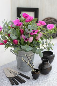 Create with Flowers-# 3-Anemones, Tulips and Eucalyptus Foliage-Ingrid Henningsson-Of Spring and Summer