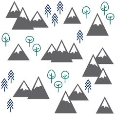 """This print is chock full of snow-capped mountains and trees in charcoal gray, emerald green, navy blue, and white. Perfect for baby and children's clothing, blankets, and decor, or as wallpaper on a nursery wall. Coordinates beautifully with my other PNW designs. ** You are welcome to use this fabric for commercial purposes--please credit """"CAVU Too Designs"""" when doing so. **"""