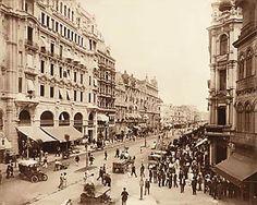 Avenida Central (atual Rio Branco), no Rio. Em 1910, ela era repleta de construções em estilo neoclássico