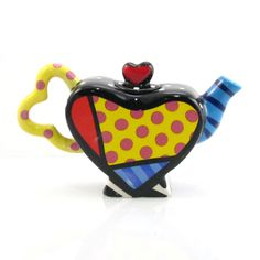 Mini Heart Teapot with Dots Romero Britto