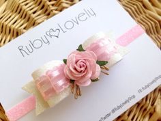 Baby/Girl Pink Bow, Pink Headband, Pink White Wedding Bow/Headband, Wedding…