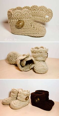 Crochet Wrap Around Button Baby Boots - 17 Free Crochet Baby Booties Pattern / Crochet Baby Shoes - I Heart Crafty Crochet Baby Boots, Crochet Baby Clothes, Crochet Slippers, Crochet Sandals, Crochet Motifs, Free Crochet, Knit Crochet, Crochet Patterns, Trendy Baby