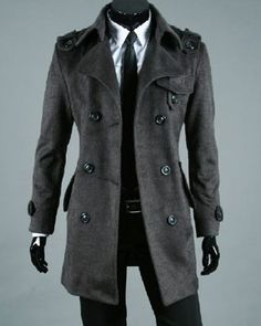 Mens Coat Solid Turndown Collar Single Breasted Wool Blend Long