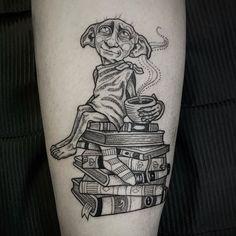 Dobby Tattoo by Hp Tattoo, Book Tattoo, Tiny Tattoo, Tattoo Flash, Freundin Tattoos, Dobby Harry Potter, Friend Tattoos, Tattoo Drawings, Cat Tattoos