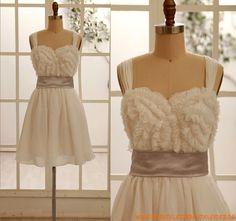 Herz-ausschnitt Kolumne Kurz Wunderschönes Brautkleid 2013 aus Chiffon