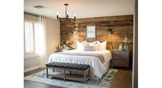 Rustic bedroom ideas diy accent wall ideas surely wish to try this at home bedroom bedroom farmhouse master bedroom bedroom decor Small Master Bedroom, Farmhouse Master Bedroom, Girls Bedroom, Bedroom Rustic, Master Bedrooms, Master Suite, Trendy Bedroom, Pallet Wall Bedroom, Bedroom With Wood Wall