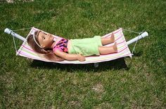 "Tutorial: Hammock and stand for an 18"" doll"