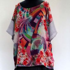 TUNIQUE TOP, légère et douce en soie et laine multicolore , manches courtes unies, col rond : Chemises, blouses par akkacreation