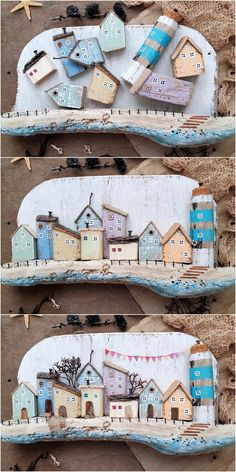Driftwood Key Holder for Wall with Wooden Houses Sea Crafts, Nature Crafts, Wooden Crafts, Home Crafts, Driftwood Projects, Scrap Wood Projects, Driftwood Art, Primitive Garden Decor, Pottery Houses