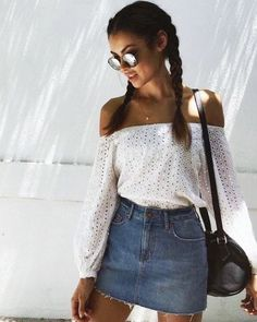 Denim A line skirt + Off the shoulder top (simple and sweet)