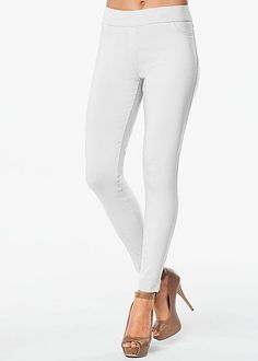 SLIMMING STRETCH JEGGINGS, COLD SHOULDER SEAMLESS TOP, STRAPPY HEEL